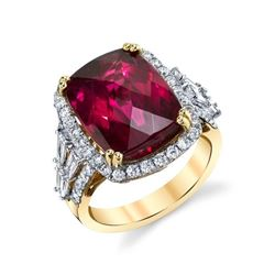 Natural Blood Red Rubellite Tourmaline and Diamond Ring Set