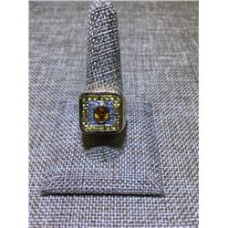 Mens' Diamond and Sapphire Ring