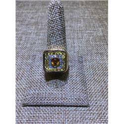 Mens' Diamond and Sapphire Ring