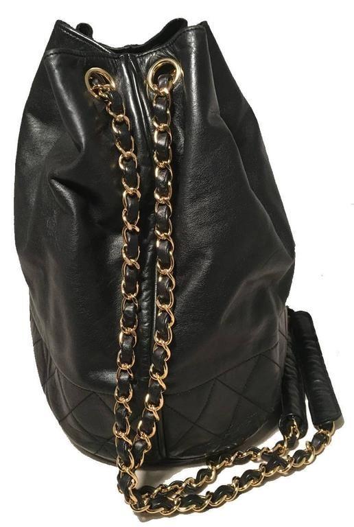 53f0da257353 ... Image 2 : Chanel Vintage Black Leather Drawstring Bucket Shoulder Bag  ...