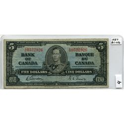 1937 BANK OF CANADA (FIVE DOLLAR NOTE)