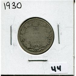 1930 CANADIAN 25 CENT COIN
