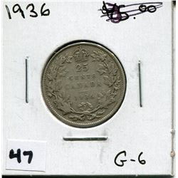 1936 CANADIAN 25 CENT COIN