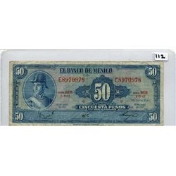 1967 FIFTY PESOS NOTE (BANK OF MEXICO)