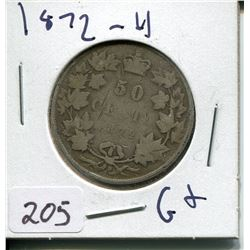 1872 CNDN SILVER 50 CENT PC