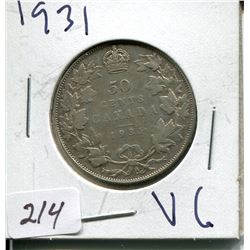 1931 CNDN SILVER 50 CENT PC