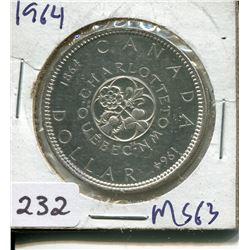 1964 SILVER QUEBEC/CHARLOTTETOWN DOLLAR (CNDN)