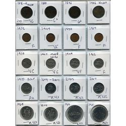SHEET OF 20 CNDN COINS (1876 LARGE PENNY TO 1981 SILVER DOLLAR)