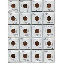 SHEET OF 20 CNDN PENNIES (1956 TO 1975)