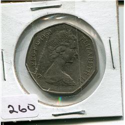 1969 FIFTY NEW PENCE PC (UNITED KINGDOM) *ELIZABETH 11*