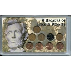 1919-1997 NINE DECADES (LINCOLN PENNIES)