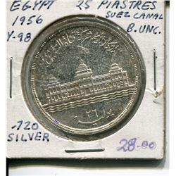 1956, 25 PIASTRES, B. (EGYPTIAN) *UNC., .720 SILVER*