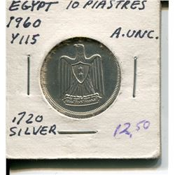 1960 10 PIASTRES (EGYPTIAN) *AU .720 SILVER*