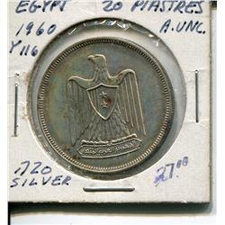 1960 20 PIASTRES( EGYPTIAN) *AU .720 SILVER*