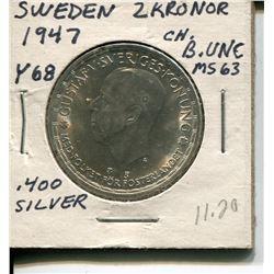 1947 2 KRONOR (SWEDEN) *MS63 .400 SILVER*