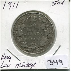 1911 CNDN SILVER 50 CENT PC, *VERY LOW MINTAGE*
