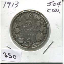 1913 CNDN SILVER 50 CENT PC