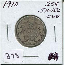 1910 CNDN SILVER QUARTER