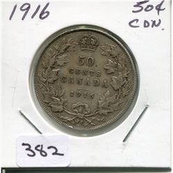 1916 CNDN SILVER 50 CENT PC