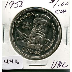 1958 CNDN SILVER DOLLAR *BRITISH COLUMBIA*