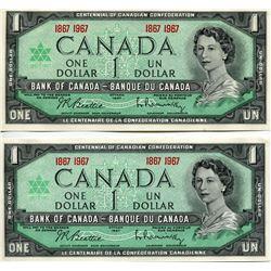 2 CNDN $1 BANK NOTES (CENTENNIAL) *UNCIRCULATED*