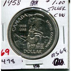 1958 CNDN SILVER DOLLAR (BRITISH COLUMBIA)