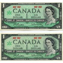 2 - 1967 CNDN $1 BANK NOTES (CENTENNIAL) *UNCIRCULATED*