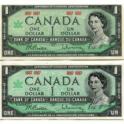 2 - 1976 CNDN $1 BANK NOTES (CENTENNIAL) *UNCIRCULATED*