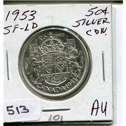 1953 CNDN 50 CENT PC. *SILVER SF-LD*