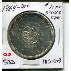1964 CNDN DOLLAR *SILVER, DOT*