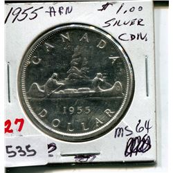 1955 CNDN DOLLAR *SILVER, ARN*