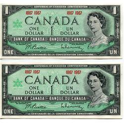 TWO $1 CNDN BANK NOTES (1967 CENTENNIAL) *BEATTIE/RASMINSKY* UNCIRC
