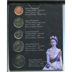 2002 CNDN COIN SET (1952-2002 QUEEN ELIZABETH) *PENNY TO 50 CENT PC, 5 COINS*