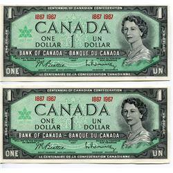 2 - 1967CNDN $1 BANK NOTES (CENTENNIAL) *UNCIRCULATED*