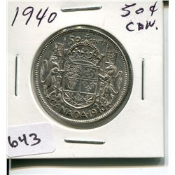 1940 CNDN 50 CENT PC *SILVER*
