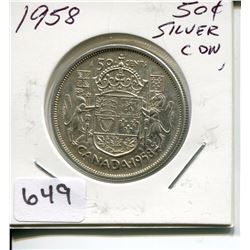 1958 CNDN 50 CENT PC *SILVER*