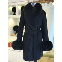 Cashmere coat with Fox trim collar and cuffs