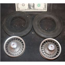 CAR RIMS & TIRES ANTIQUE FILMING MINIATURE MATCHED PAIR