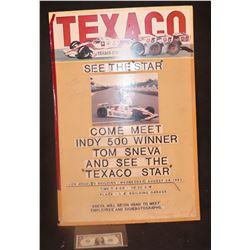 TEXACO INDY 500 ORIGINAL POSTER ARTWORK MOCK UP SIGNED BY TOM SNEVA