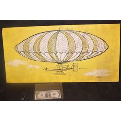 ZZ-CLEARANCE ZEPPELIN EARLY TYPE VINTAGE ORIGINAL HAND SIGNED ARTWORK