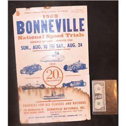 VINTAGE BONNEVILLE SALT FLATS NATIONAL SPEED TRIALS 1968 POSTER FROM CANCELED EVENT