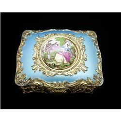 Vintage Hand Painted Japanese Porcelain Gold Jewelry Box