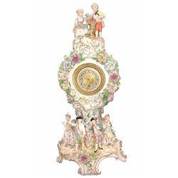 Nice Antique Dresden Mantle Clock, 19th C, F