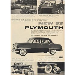 1953 Plymouth Black & White Car Advertisement