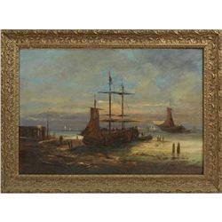 "French School, ""Fishing Boats In The Harbor,"" 19th C., Oil On Canvas"