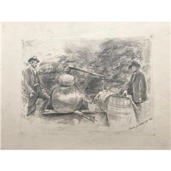 20thc Signed Pencil Sketch, Moonshiners & Still
