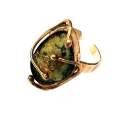 Ancient Roman Glass Sterling Silver Adjustable Size Ring