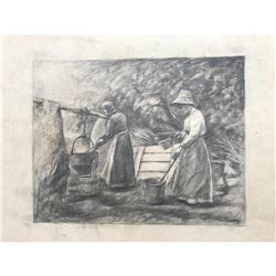 20thc Signed Sketch, Mountain Woman & Boiling Pots