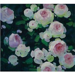 21st Century Ukranian, Still Life Oil On Canvas Painting, Sunny Roses