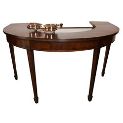 English Mahogany Demi Lune Wine Tasting Table